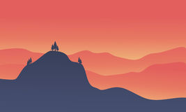 Silhouette of hight hill at sunset. Vector illustration Royalty Free Stock Image