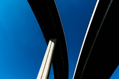 Silhouette of highway ramps on a sunny day Royalty Free Stock Photo