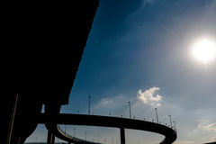 Silhouette of highway ramps on a sunny day Royalty Free Stock Photos