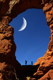 Arch in Canyon Rock Formations Silhouetter of Hiker Stock Image