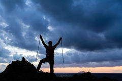 Silhouette of hiker, Crete Island, Greece Stock Images