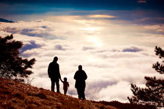 Silhouette of a hiker on top Royalty Free Stock Photo