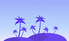 Silhouette of hill and clump palm landscape Royalty Free Stock Photography