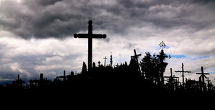 Silhouette of Hill of the Crosses, Lithuania Stock Image
