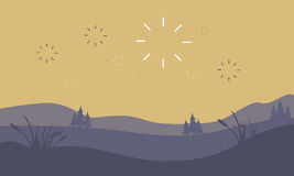 Silhouette of hill and firework landscape. Vector art Royalty Free Stock Photo