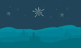Silhouette of hill with firework scenery. Vector art Royalty Free Stock Photography