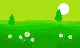 Silhouette of hill with flower at spring. Vector art Stock Photo