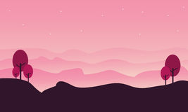 Silhouette of hill landscape with pink backgrounds. Illustration Royalty Free Stock Photo