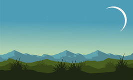 Silhouette of hill and mountain landscape Royalty Free Stock Photos