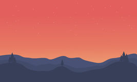 Silhouette of hill orange sky landscape. Vector illustration Royalty Free Stock Images