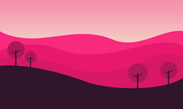 Silhouette of hill with pink backgrounds. Vector illustration Royalty Free Stock Image