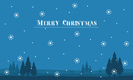 Silhouette of hill scenery Merry Christmas with snowflakes Royalty Free Stock Images