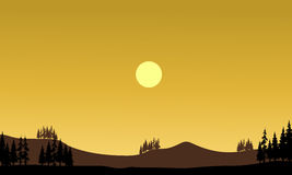 Silhouette of hills at afternoon Stock Photography