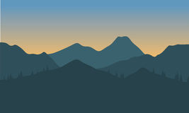 Silhouette of hills with gray background Royalty Free Stock Image