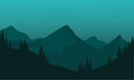 Silhouette of hills with green background  Stock Photos