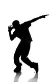 Silhouette of Hip Hop Dancer. Over a white background stock image