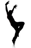 Silhouette of Hip Hop Dancer. Over a white background royalty free stock image