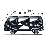 Silhouette hippie van, black retro van with different items. Royalty Free Stock Image