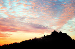Silhouette of historic castle on hill - Kuneticka hora Royalty Free Stock Photography