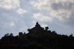 Silhouette of historic castle near village of Solsona, Cataluna, Spain Stock Photography