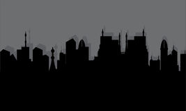 Silhouette of historic town Stock Photos