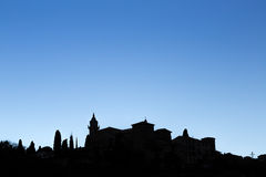 Silhouette of the historic village Valldemossa in Majorca Stock Images