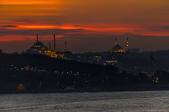 Silhouette of historical peninsula during sunset in Istanbul, Turkey. Royalty Free Stock Images