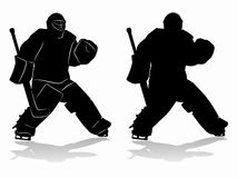 Silhouette of a hockey goalie - vector drawing. Illustration of a ice hockey goalie. black draw and white background Stock Photos