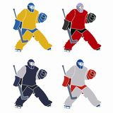 Silhouette of a hockey goalie - vector drawing. Illustration of a ice hockey goalie. color draw and white background Stock Photos