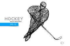 Silhouette of a hockey player. Background and text on a separate layer, color can be changed in one click Royalty Free Stock Photography
