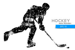 Silhouette of a hockey player. Background and text on a separate layer, color can be changed in one click Royalty Free Stock Photo