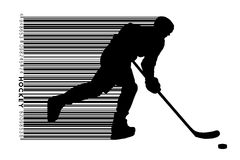 Silhouette of a hockey player and barcode. Background and text on a separate layer, color can be changed in one click Stock Photos