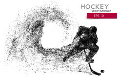Silhouette of a hockey player from particles. Background and text on a separate layer, color can be changed in one click Royalty Free Stock Images