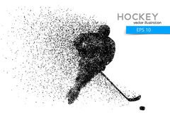 Silhouette of a hockey player from particles. Background and text on a separate layer, color can be changed in one click Stock Image