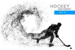 Silhouette of a hockey player from particles. Background and text on a separate layer, color can be changed in one click Royalty Free Stock Photo