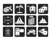 Silhouette Holiday travel and transportation icons Stock Photography