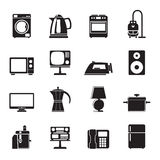 Silhouette home equipment icons Stock Image