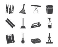 Silhouette Home objects and tools icons Royalty Free Stock Image