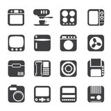 Silhouette Home and Office, Equipment Icons Stock Photography