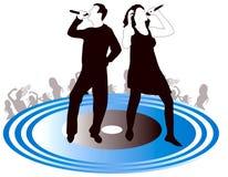 Silhouette hommes-femmes de chanteurs Images libres de droits