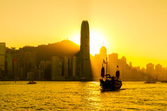 Silhouette of Hong Kong city Stock Image
