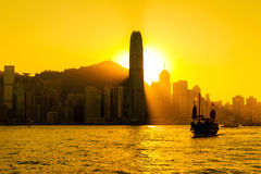 Silhouette of Hong Kong city Royalty Free Stock Photo