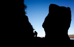Silhouette at Hopewell Rocks, New Brunswick Stock Images
