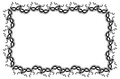 Silhouette  horizontal frame with carnival masks. Raster clip art. Stock Photography