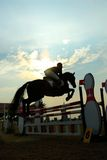 Silhouette of a horse. A show jump horse trying to overcome hurdles at Premiercup Equestrian event in Putrajaya Malaysia Royalty Free Stock Images