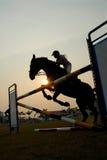 Silhouette of a horse. A silhouette of a horse jumping over hurdles Stock Image
