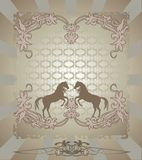 Silhouette horse, floral design Stock Photography