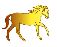 The silhouette of a horse gallop (gold ingot) Stock Photos