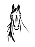 Silhouette of a horse head front view. Stencil a horse's head on a white background Stock Image