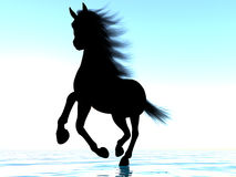 Silhouette of a horse. The image of a silhouette of a horse 3D illustration Stock Photos